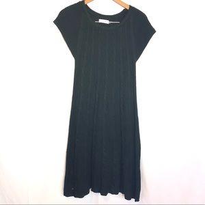 CK L black knit midi dress boho versatile shrt slv